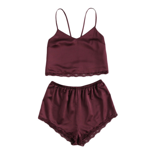 Sleeveless Lace Trim Satin Cami And Shorts Pajama Set Burgundy V Neck