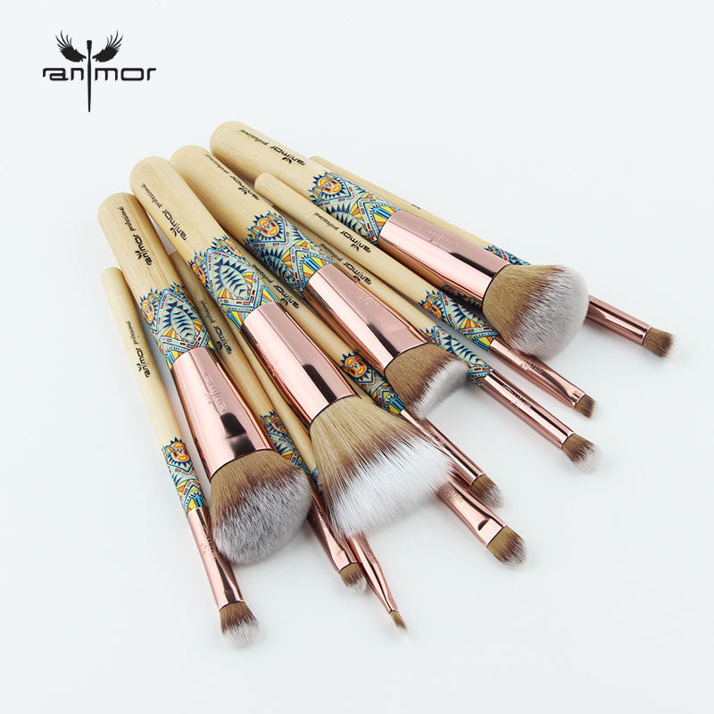 12PCS Makeup Brush Bamboo Soft Synthetic Collection Set ANMOR