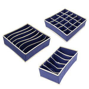 3PCS Foldable NonWoven Home Storage Box For Bra Tie Socks Underwear