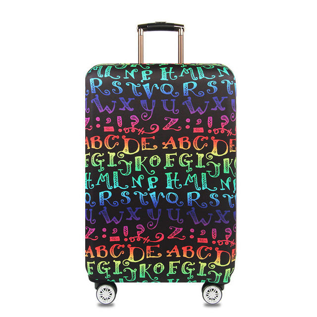OKOKC World Map Elastic Thick Luggage Cover Trunk Case Apply 18''-32'' Suitcase