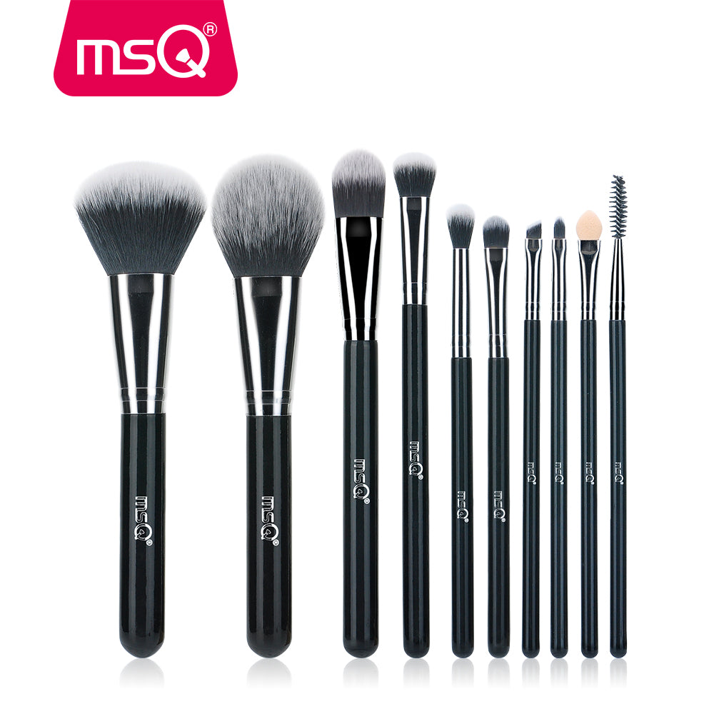 MSQ 10pcs High Quality Professional Makeup Brush Set Brilliant Black Handle