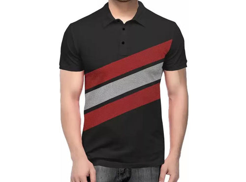 Tripr Striped Men Polo Neck Red, White, Black T-Shirt
