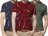 Tripr Printed Men Round Neck Multicolor T-Shirt  (Pack of 3)
