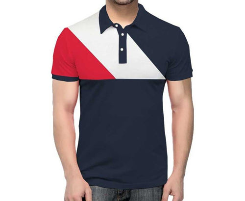 Tripr Color Block Men Polo Neck Navy Red White T-Shirt
