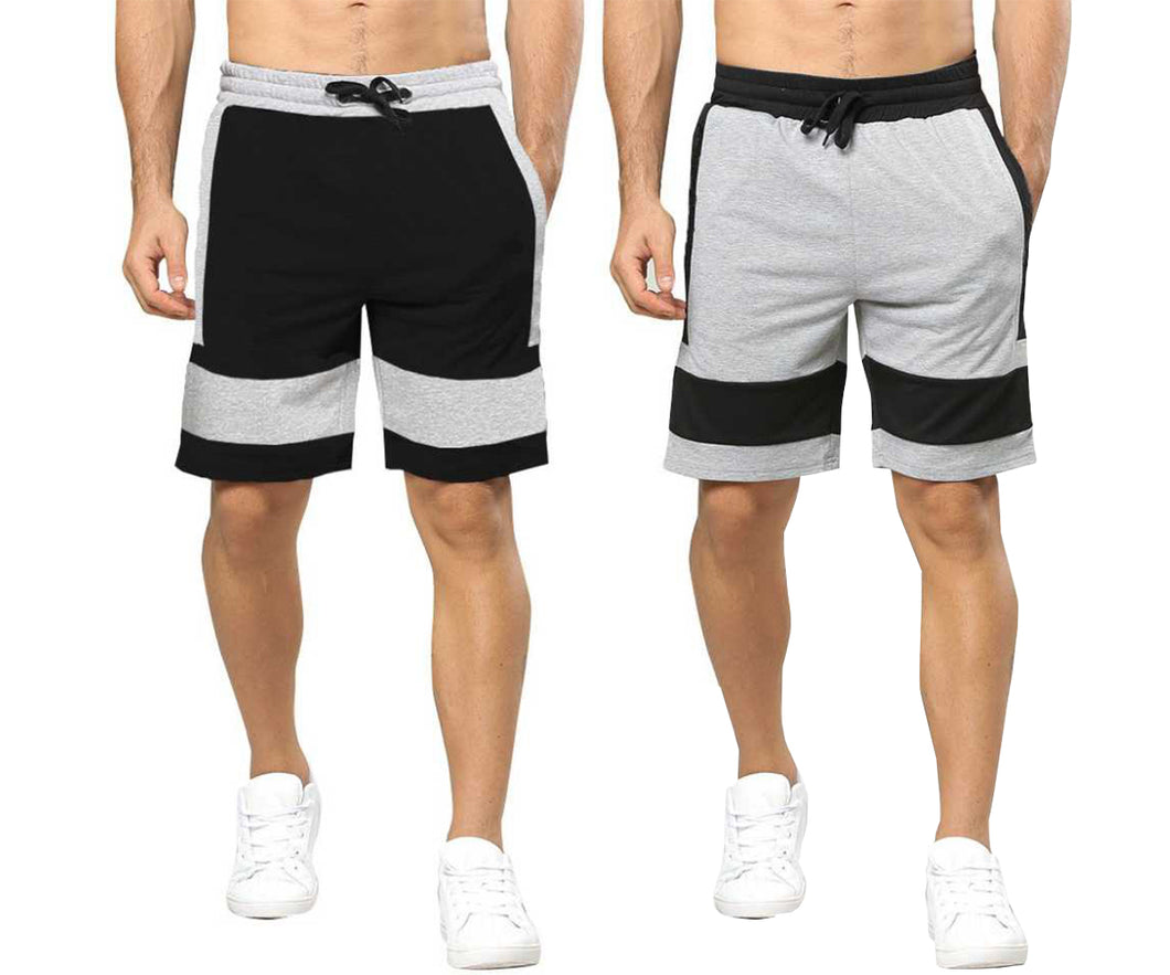 Tripr Solid Men Grey, Black Regular Shorts(PACK OF 2)