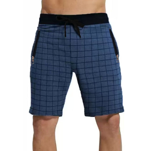 Tripr Checkered Men Blue Regular Shorts with zipper