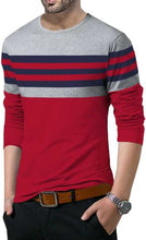 Tripr Striped Men Round Neck Dark Blue, Red, Grey T-Shirt