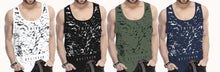 Tripr Men Vest White Black Dark Blue Green (Pack of 4)