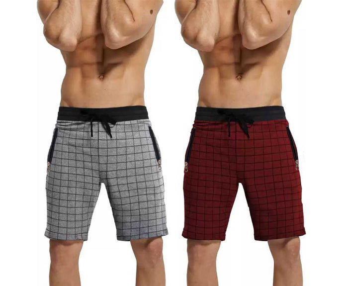 Checkered Men Grey,Red Black Regular Shorts(PACK OF 2)