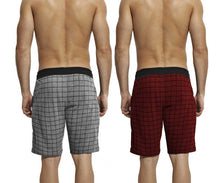 Tripr Checkered Men Grey,Red Black Regular Shorts(PACK OF 2)