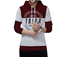 Tripr Typography Men Hooded Neck Maroon-Grey T-Shirt