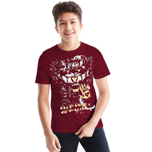 Tripr kids Printed Cotton Blend T Shirt  (Maroon, Pack of 1)