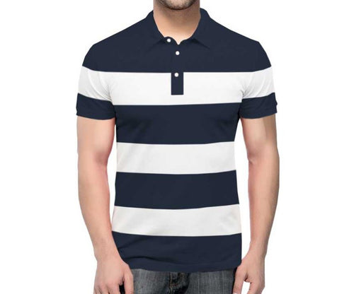 Tripr Color Block Men Polo Neck Navy White T-Shirt