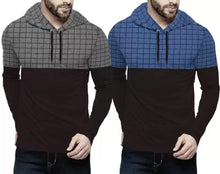 Tripr Checkered Men Hooded Neck Light Blue, Black, Grey T-Shirt  (Pack of 2)