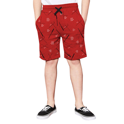 Tripr  Short For Kids Casual Printed Cotton Blend  (Red, Pack of 1)