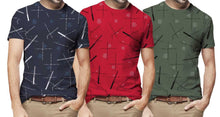 Tripr Printed Men Round Neck Dark Blue,Red,Green T-Shirt(Pack of 3)