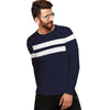 Tripr Color Block Men Round Neck Dark Blue, White T-Shirt