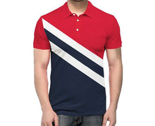 Tripr Color Block Men Polo Neck Red White Navy T-Shirt