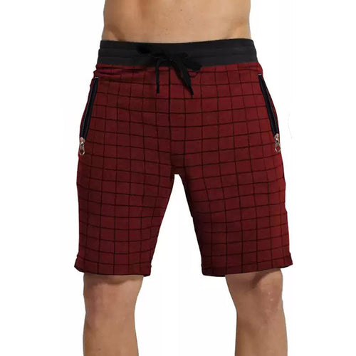 Tripr Checkered Men Red Regular Shorts with zipper