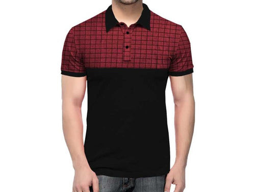 Tripr Checkered Men Polo Neck Red, Black T-Shirt
