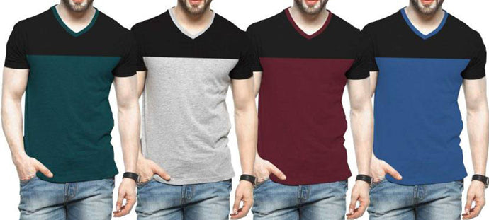 Tripr Color block Men V-neck Multicolor T-Shirt  (Pack of 4)