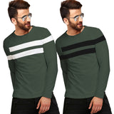 Tripr Color Block Men Round Neck Green T-Shirt  (Pack of 2)