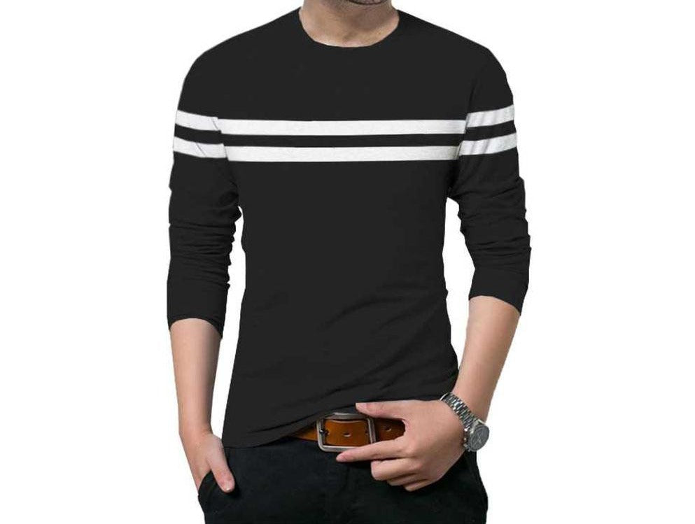 Tripr Striped Men Round Neck White, Black T-Shirt