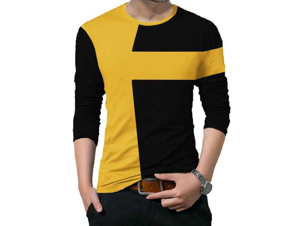 Tripr Color Block Men Round Neck Black, Yellow T-Shirt