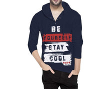 Tripr Typography Men Hooded Neck Dark Blue T-Shirt