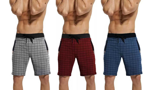Tripr Checkered Men Grey,Red,Royal Blue Regular Shorts(PACK OF 3)