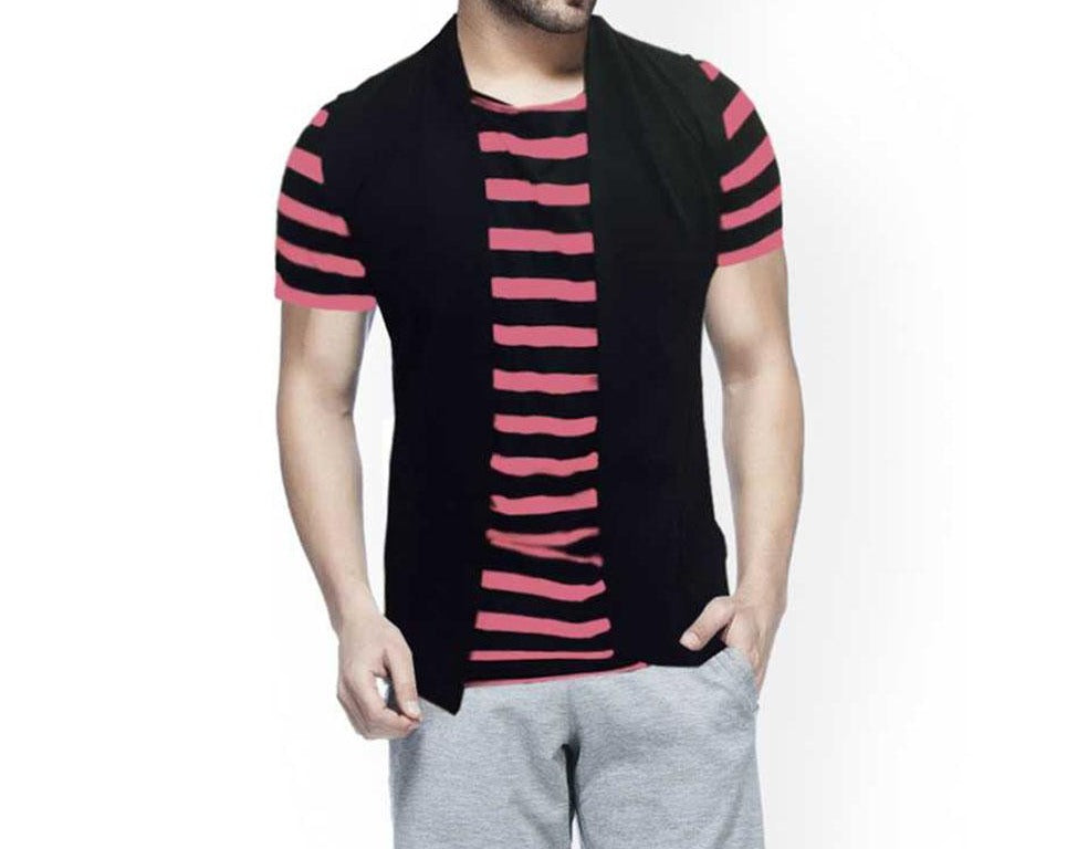 Tripr  Striped Men Round Neck Black, Pink T-Shirt