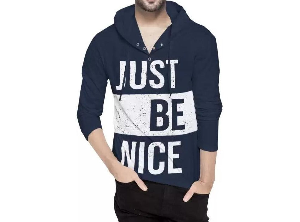 Tripr  Printed Men Hooded Neck Dark Blue T-Shirt