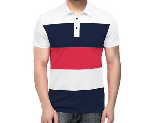 Tripr Color Block Men Polo Neck Dark Blue, Red, White T-Shirt