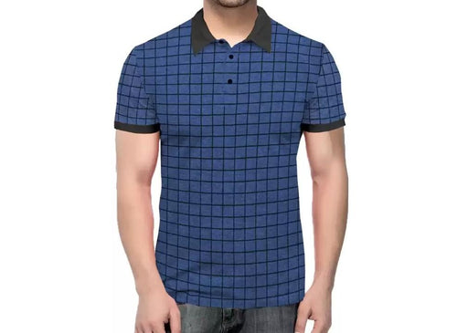 Tripr Checkered Men Polo Neck Blue, Black T-Shirt