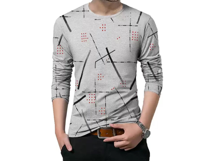 Printed Men Round Neck Grey T-Shirt