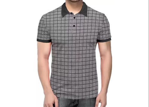 Tripr Checkered Men Polo Neck Black, Grey T-Shirt