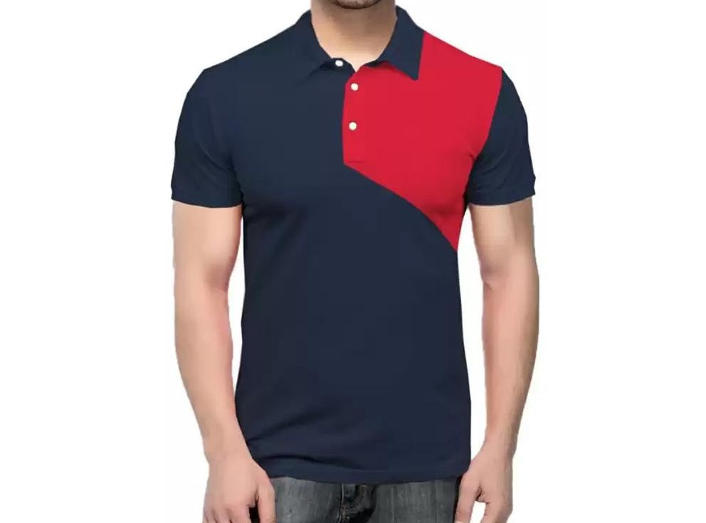 Tripr  Color Block Men Polo Neck Dark Blue, Red T-Shirt