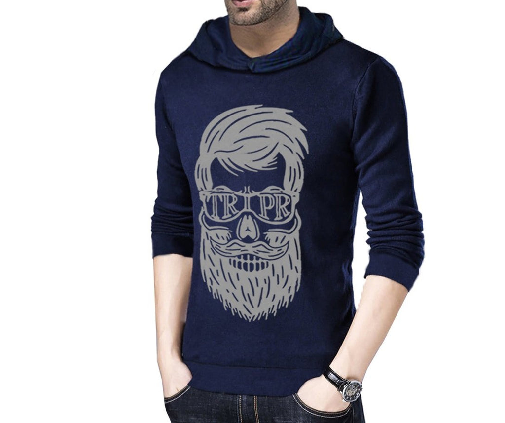 Printed Men Hooded Dark Blue T-Shirt