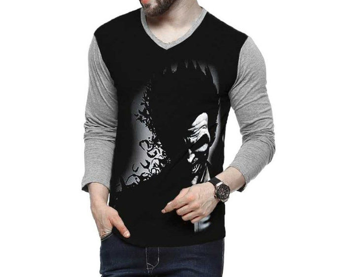 Tripr Printed Men V-neck Full Sleeves T-Shirt