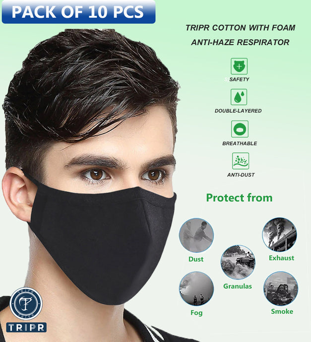 TRIPR REUSABLE COTTON WITH FOAM FACE MASK (PACK OF 10 PIECES) BLACK