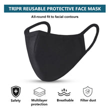 TRIPR REUSABLE COTTON WITH FOAM FACE MASK (PACK OF 100 PIECES) BLACK