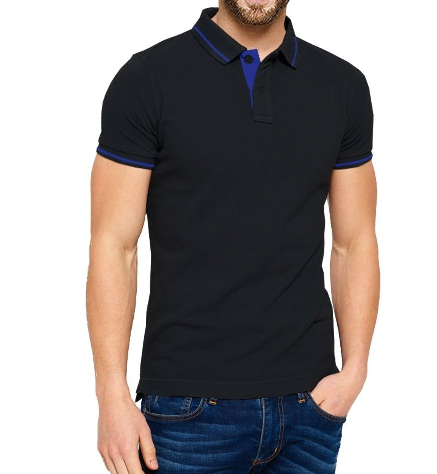 Tripr Solid Men Polo Neck Black T-Shirt