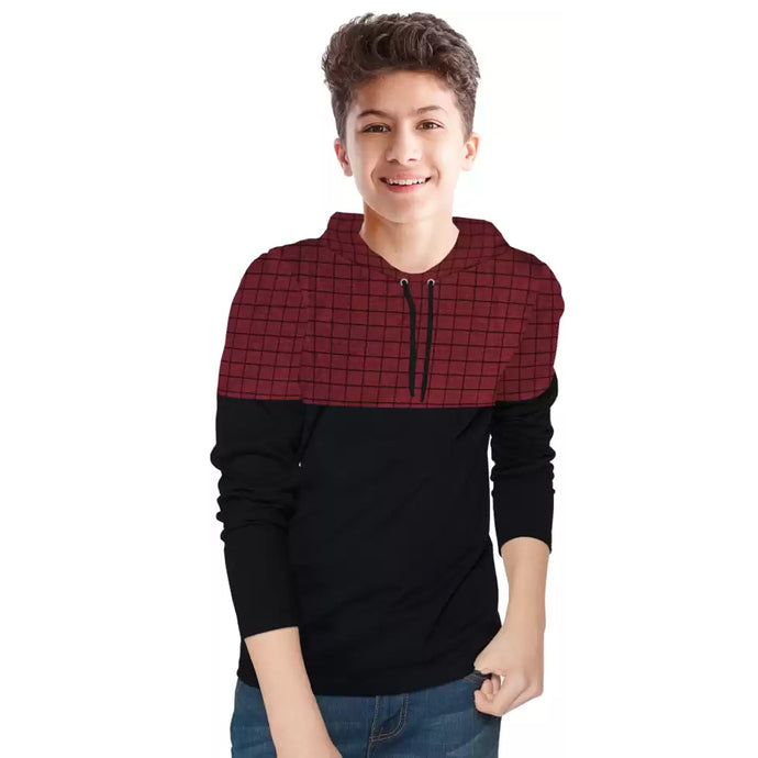 Tripr Boys Checkered Pure Cotton T Shirt Red