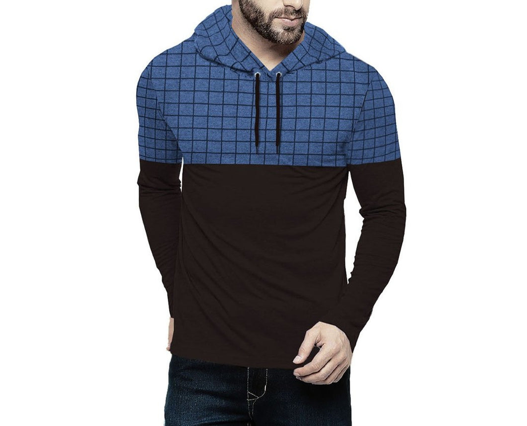 Tripr Checkered Men Hooded Neck Black, Blue T-Shirt