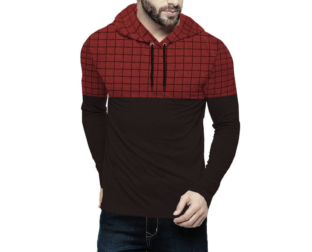 Tripr Checkered Men Hooded Neck Black, Red T-Shirt