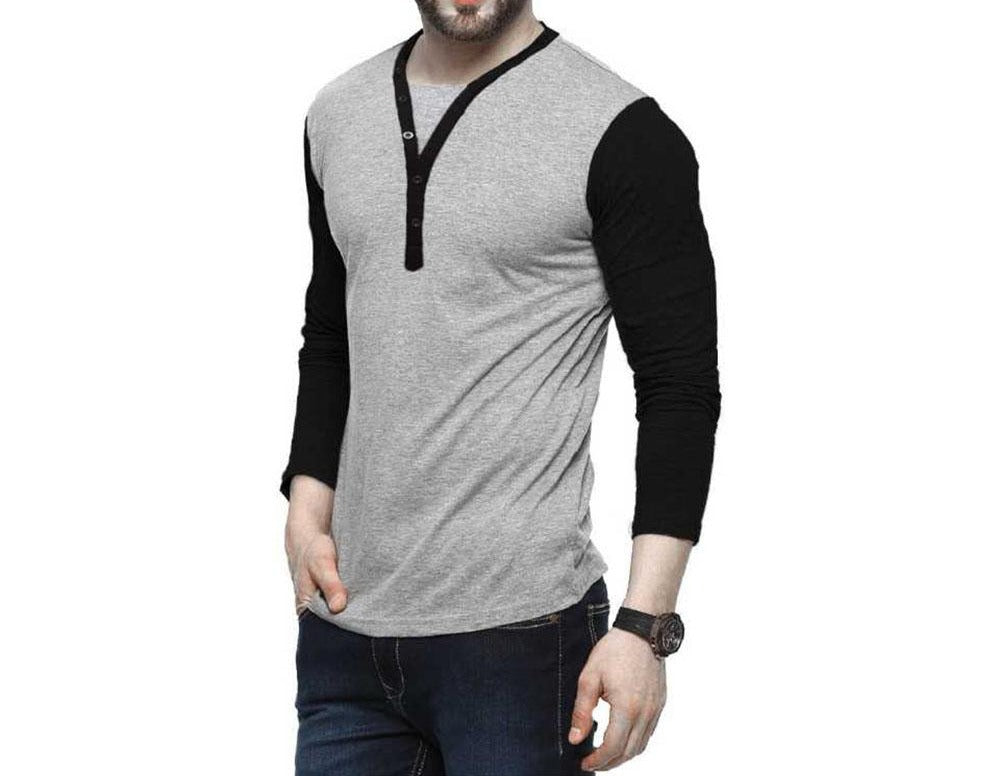 Tripr Solid Men Henley Multicolor T-Shirt
