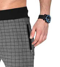 Tripr Checkered Men Grey Track Pants with zipper