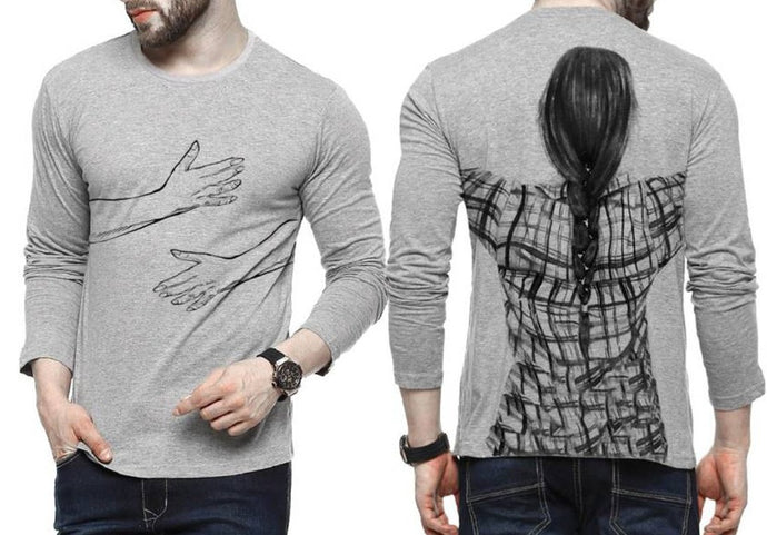Tripr Printed Men Round Neck Grey T-Shirt