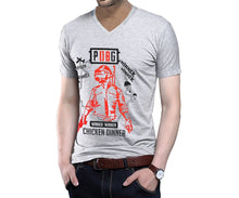 Tripr Printed Men V-Neck Grey T-Shirt
