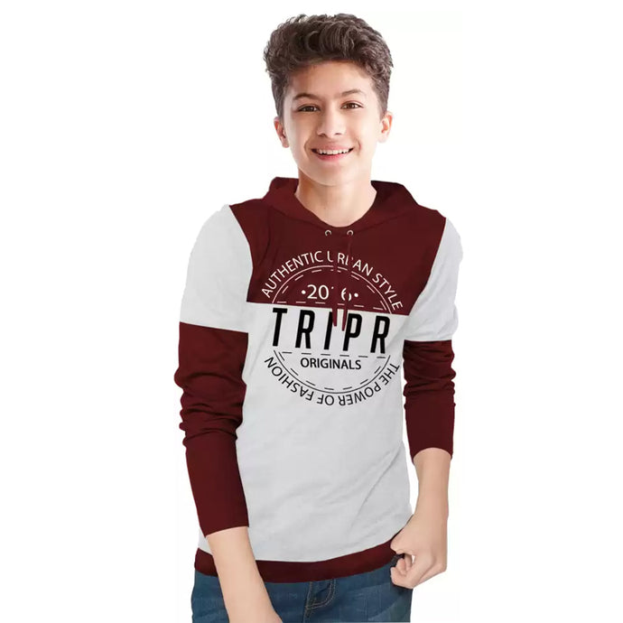 Tripr  Boys Printed Cotton Blend T Shirt Maroon